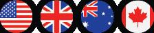 UK USA CA AUS Flags
